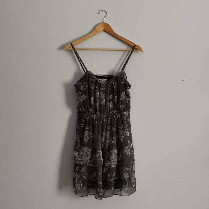 Grey Floral Tiered Dress